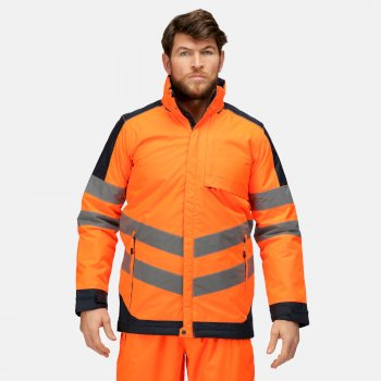 Hi-Vis wasserdichte, isolierte, reflektierende Arbeitsjacke mit Kapuze für Herren Orange
