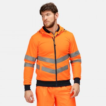 Hi Vis Pro Hoodie mit durchgehendem Reißverschluss für Herren Orange