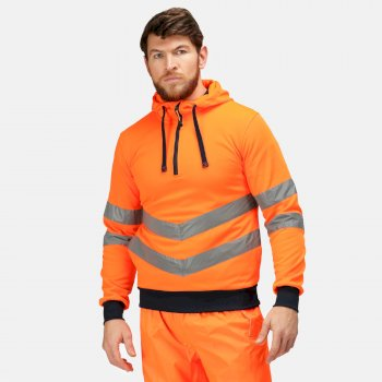 Hi Vis Pro Reflektierender Hoodie zum Drüberziehen für Herren Orange