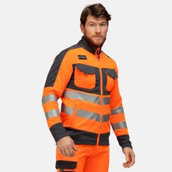Tactical Hi Vis Stretchfleece mit durchgehendem Reißverschluss für Herren Orange