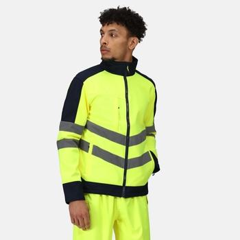 Hi Vis Pro Wasserdichte, reflektierende Softshell-Arbeitsjacke für Herren Gelb