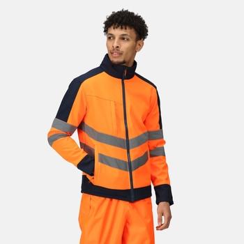 Hi Vis Pro Wasserdichte, reflektierende Softshell-Arbeitsjacke für Herren Orange