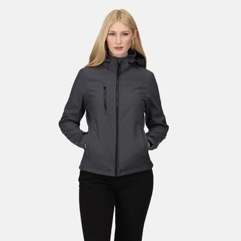Venturer 3-lagige, bedruckbare Softshelljacke mit Kapuze für Damen Grau
