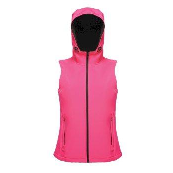 Arley Hooded Damen Softshellweste Pink / Schwarz