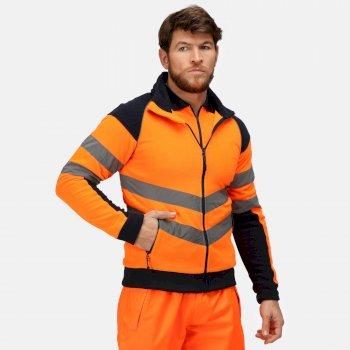 Hi Vis Pro Arbeitsfleece mit durchgehendem Reißverschluss für Herren Orange