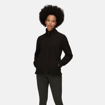 Micro leichtes Fleece mit durchgehendem Reißverschluss für Damen Schwarz