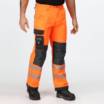 Tactical Hi Vis Robuste, reflektierende Hose für Herren Orange Grey