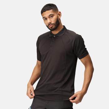 Coolweave feuchtigkeitsableitendes Poloshirt für Herren Schwarz