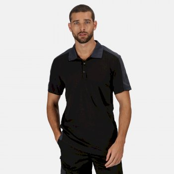 Contrast Coolweave schnell feuchtigkeitsableitendes Poloshirt für Herren Schwarz