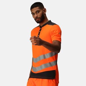 Tactical Hi Vis Reflektierendes Polo-Arbeitsshirt für Herren Orange