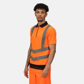 Hi Vis Pro Reflektierendes Polo-Arbeitsshirt für Herren Orange