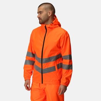 Men's Hi Vis Pro Waterproof Reflective Packaway Work Jacket Orange