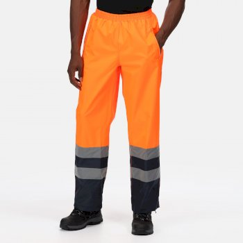 Men's Hi Vis Pro Waterproof Reflective Work Over Trousers Orange Navy